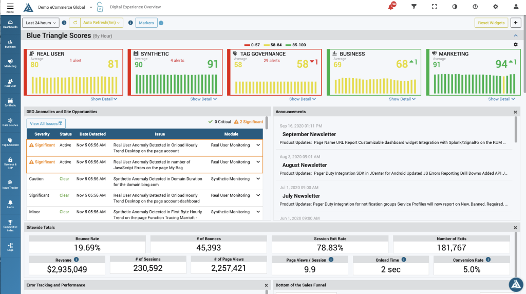 Digital Experience Overview and Anomaly Detection